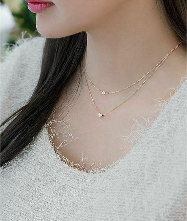 925 Sterling Gold Two Layers Pearl Women Girl