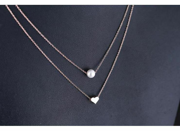 925 Gold Two Layers Heart Pearl Girl