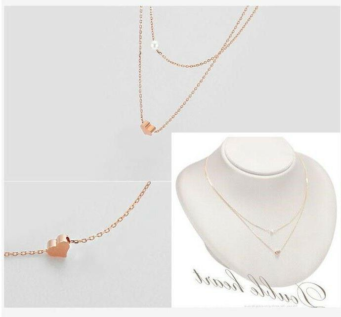 925 Sterling Rose Gold Layers Heart Pearl Pendant Women Girl