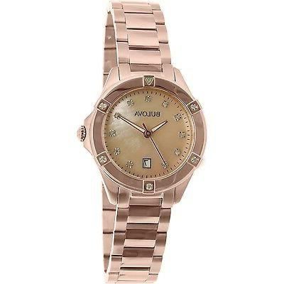 Bulova Women's 97W101 Diamond Gold Bracelet 27mm Watch
