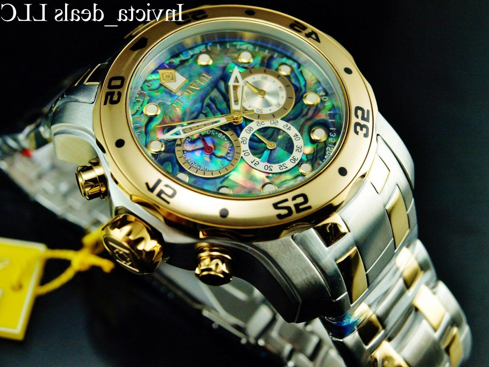 Invicta Men Diver Abalone Gold Two Tone St Watch