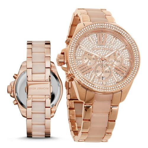 New Michael Kors MK6096 Wren Rose Gold Blush Chrono Womens G