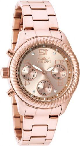Invicta Chronograph Rose Dial Stainless Steel