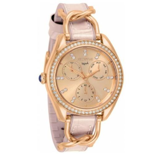 angel women s 36mm rose gold crystals