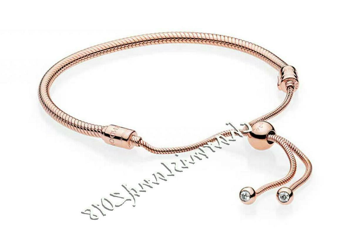 authentic rose gold moments snake chain slider