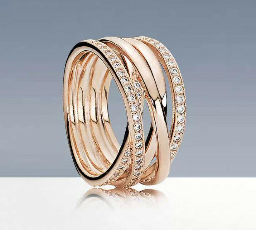 authentic rose gold ring 180919cz entwined wide