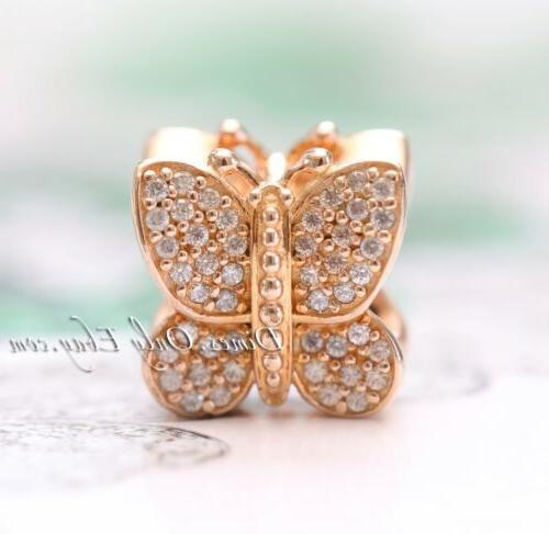 Authentic Pandora Gold Sparkling Butterfly, Clear 781257CZ