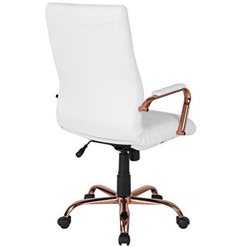 Flash High White Leather Chair Rose Frame and Arms