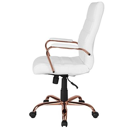 Flash White Leather Chair with Rose Gold Frame and