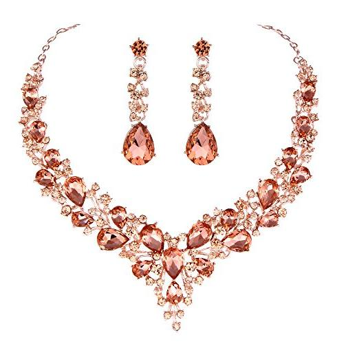 bridal austrian crystal necklace and earrings jewelry