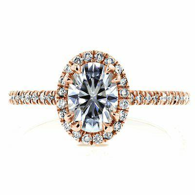 Annello Kobelli Rose Gold Oval Moissanite Halo