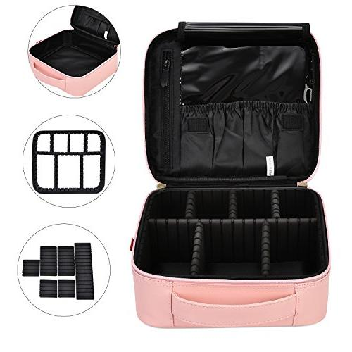 NiceEbag Travel Cosmetic Cute Leather Cosmetic Train Organizer with for Tools
