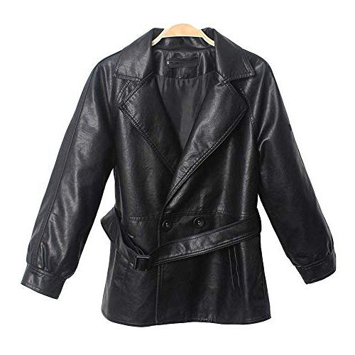 casual faux leather jackets lapel