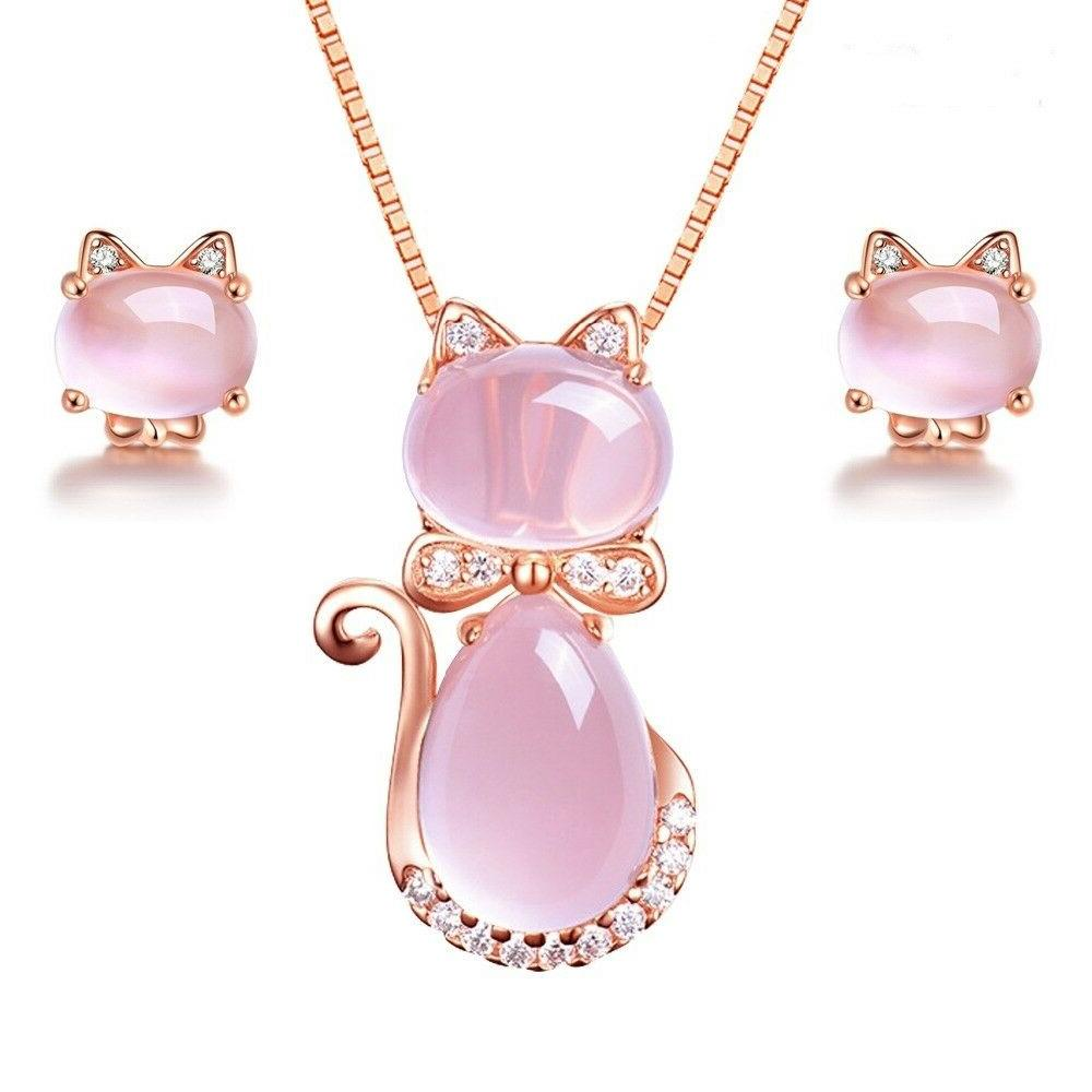 Cat Earrings and Necklace Pink Jewelry Sets Women's Rose Gol