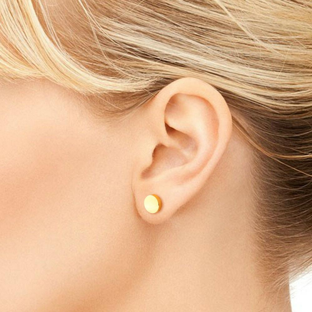Circle Stud Gold Flat Round Discs Womens Mens