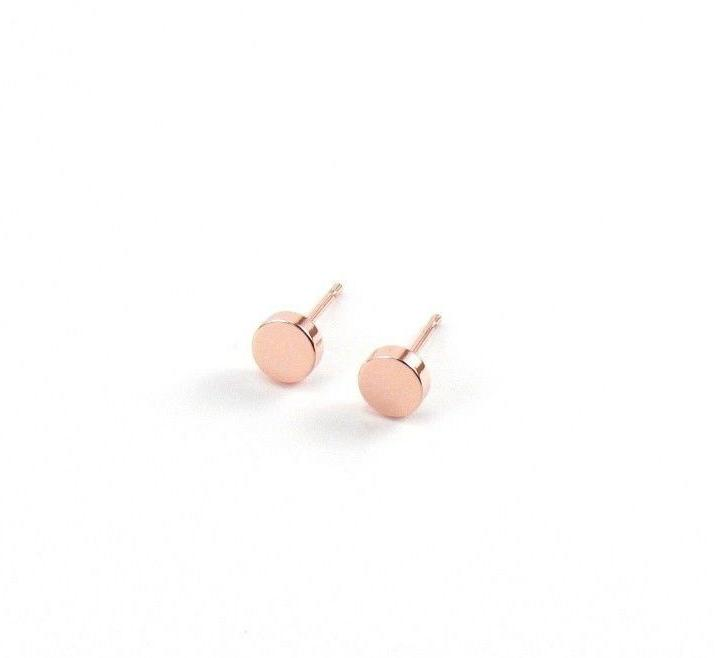 Circle Earrings Rose Gold Flat Discs Womens