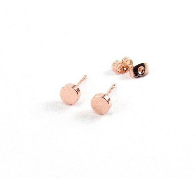 circle stud earrings rose gold small flat