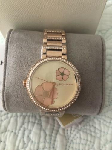 Michael Kors Courtney Gold-Tone Mother of Flower Watch