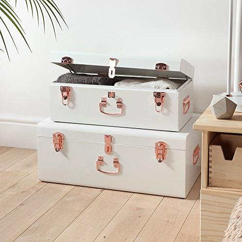 Beautify Cream Vintage Style Steel Metal Trunk Set Lockable Decorative with Rose - Dorm and Bedroom
