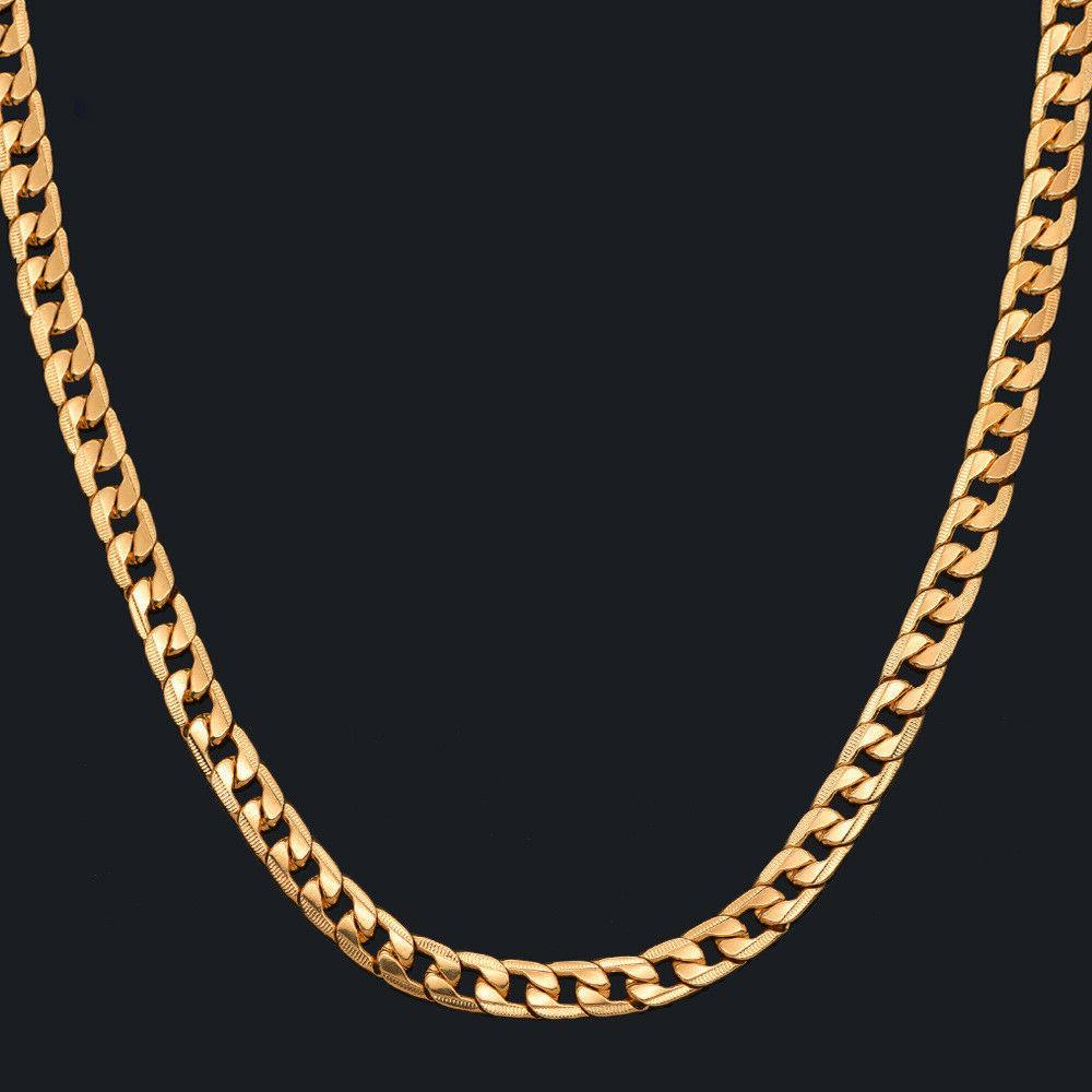Curb Chain Necklace men 24'' 10mm Gold