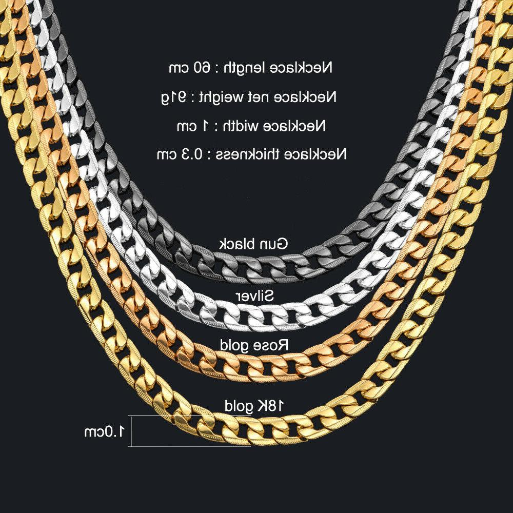 Curb Necklace men 24'' 10mm Gold Plated