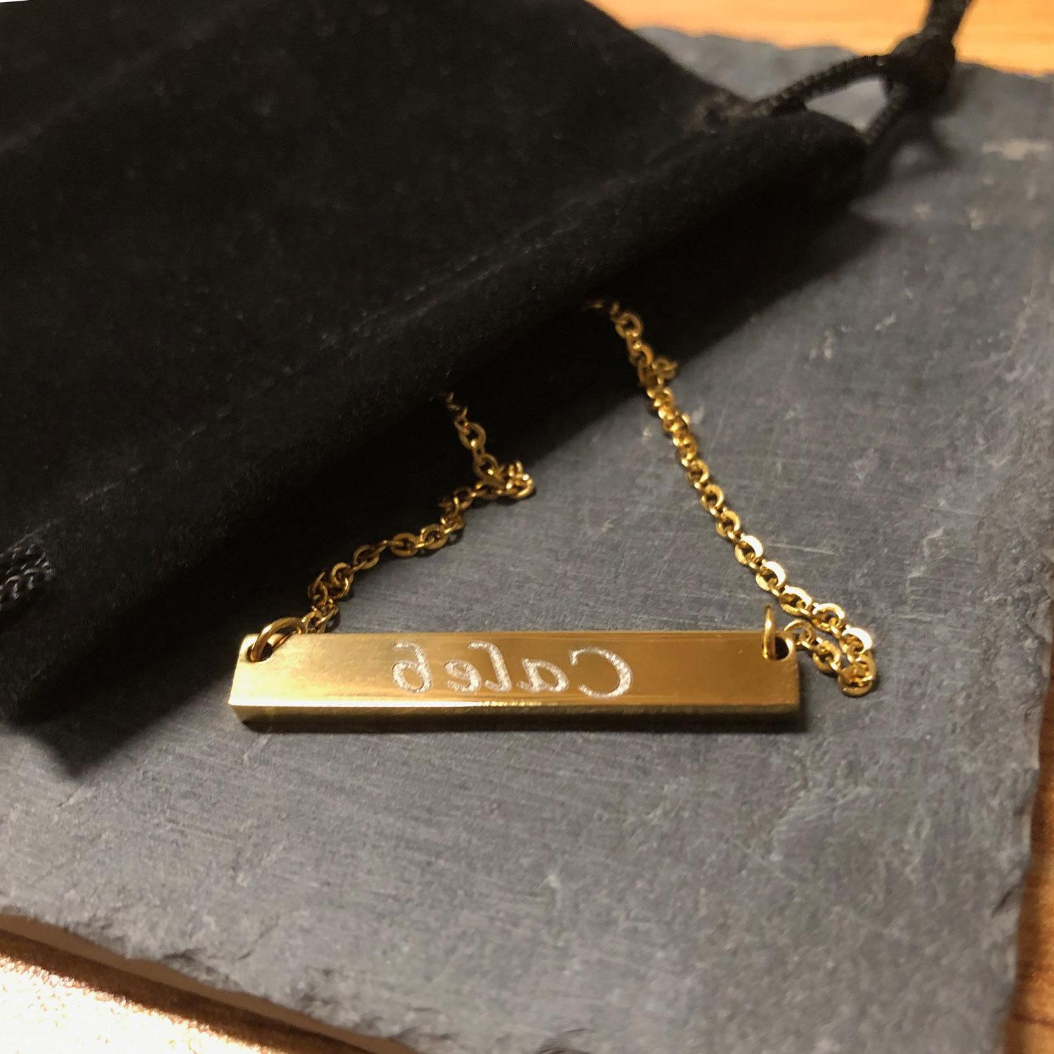 Custom Necklace Engraved Bar Stainless Gold Gift