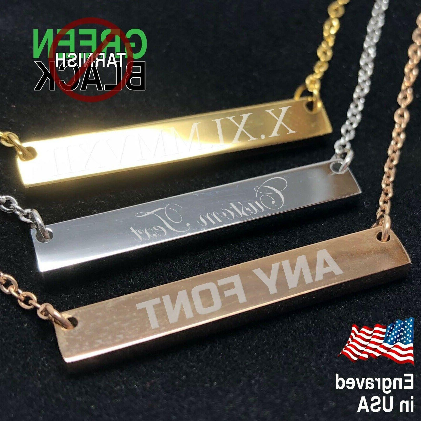 custom necklace engraved bar stainless silver rose
