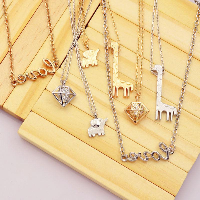 Cute Women Girls Giraffe Pendant Long Chain Choker Necklace