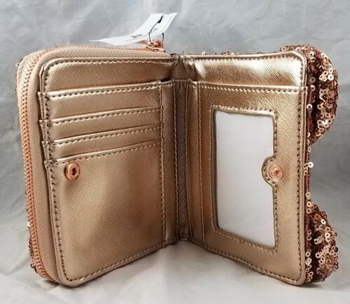 Disney Loungefly Rose Gold Clutch Square Wallet NEW
