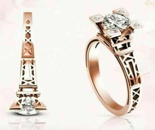 eiffel tower ring rose gold plated engagement