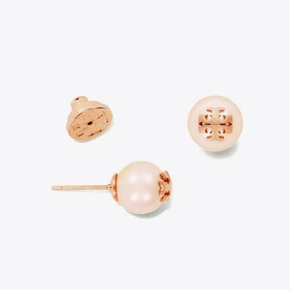 Tory Burch Evie Pearl Rose Gold Logo Stud Earrings Card & Wh