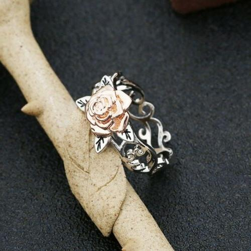 Exquisite Two 925 Silver Floral 14k Rose Gold Jewelry