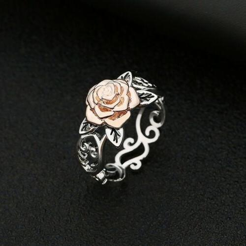 Exquisite Silver Floral Rose Flower Jewelry