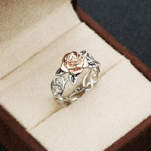 Exquisite Tone Silver Rose Gold Flower Jewelry