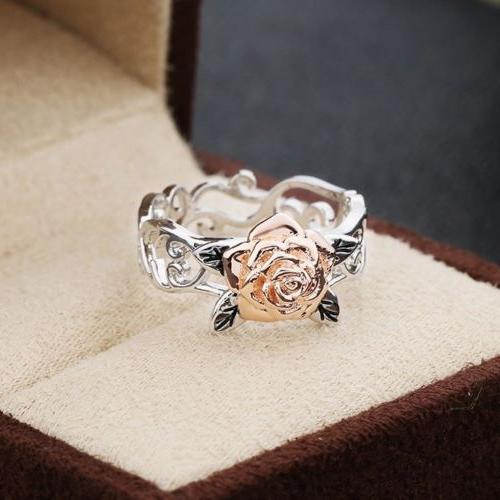 Exquisite Tone Silver Floral Rose Gold Jewelry