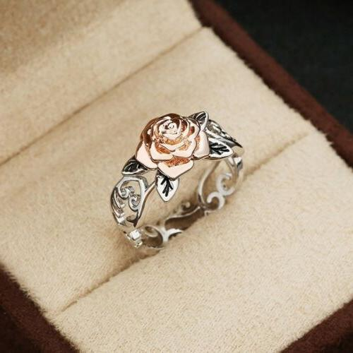 exquisite two tone 925 silver floral ring
