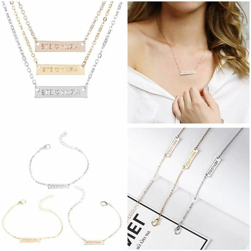 Fashion KPOP BTS ARMY Necklace Bracelet Bangtan Boys Jewelry