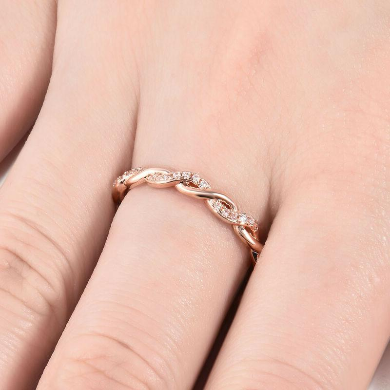Fashion Women 14K Rose Twisted Ring Party Jewelry