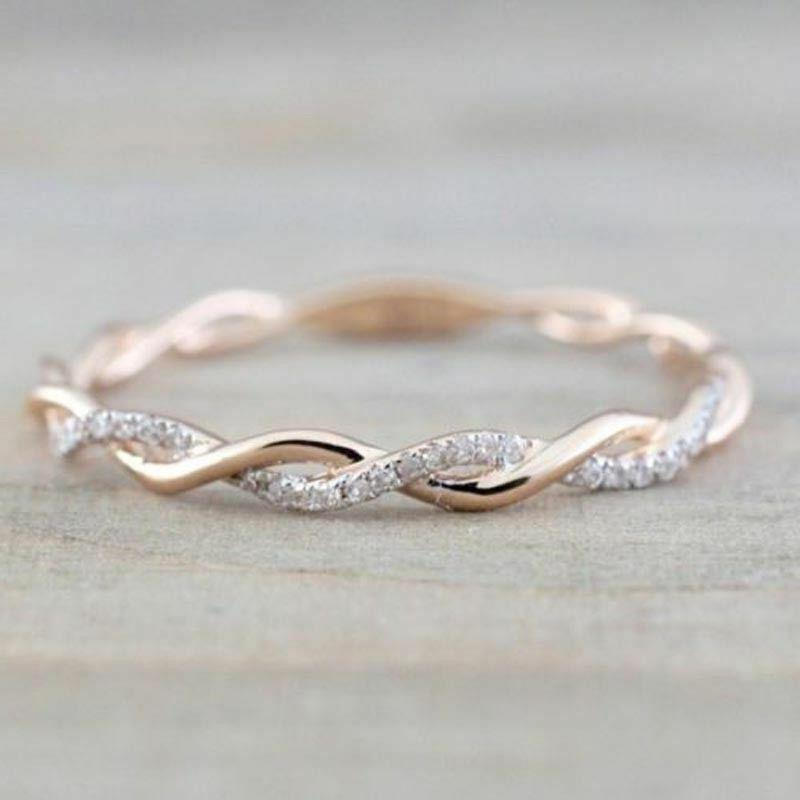 fashion women 14k solid rose gold stack
