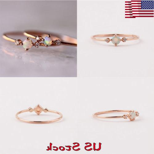 Fashion Women's Jewelry Plated 14k Rose Gold Opal Ring Engag