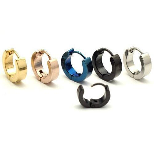 Fashion Women's Men's Stainless Steel Hoop Huggie Ear Stud