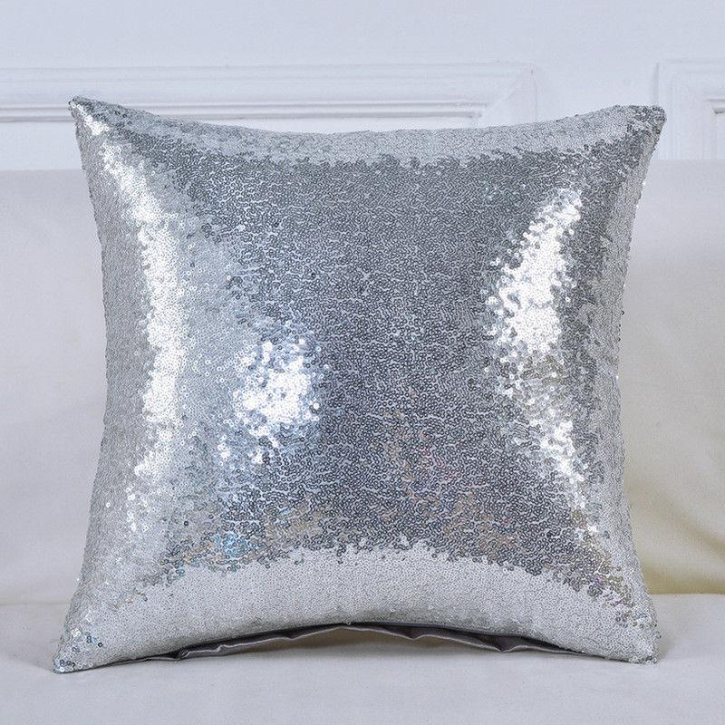 Glitter Sequins Pillow Case Waist Throw Cushion