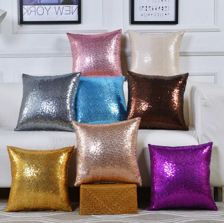 glitter sequins pillow cover case waist throw