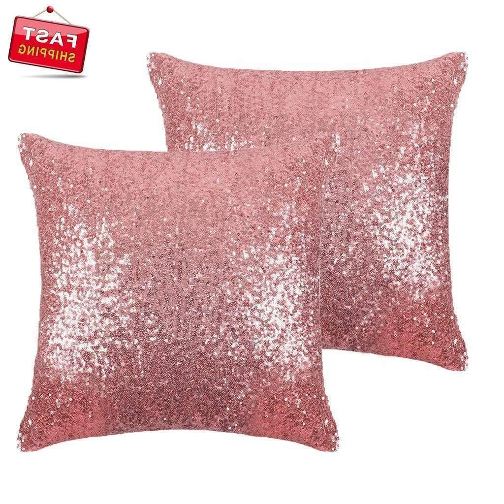 "Glittered Sparkle Throw Pillow Cover 18"" 2X Rose Gold Home D"