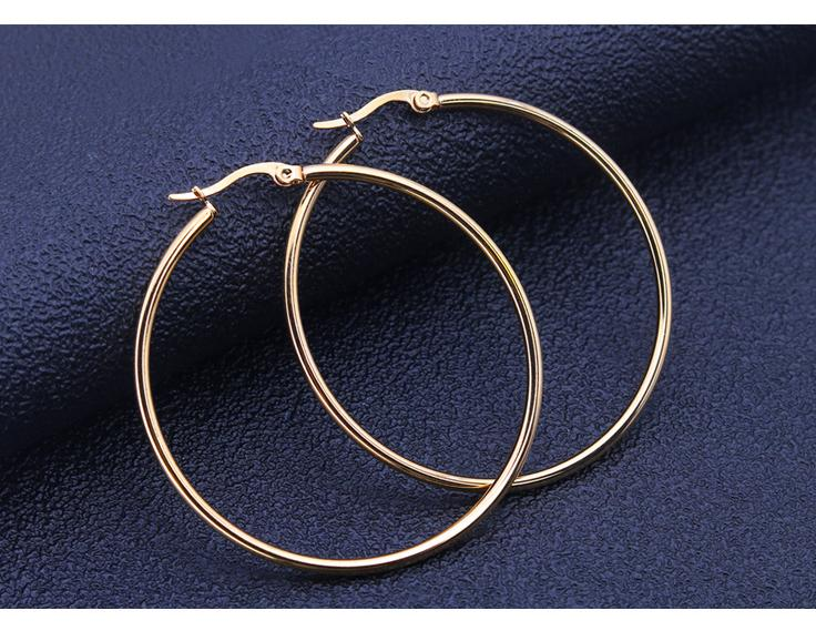 Gold Gold Silver Simple Round Hoop