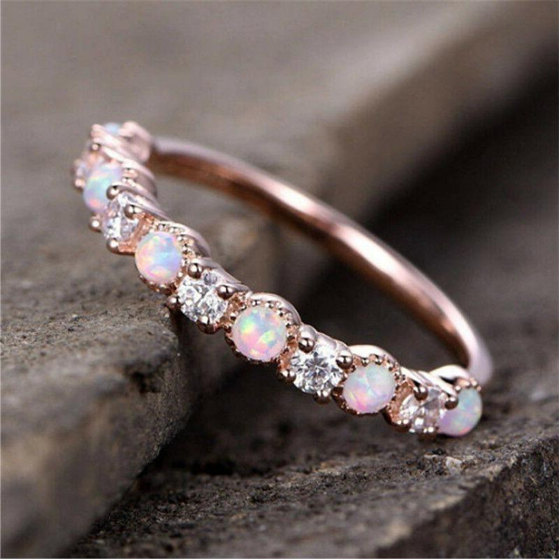 Gorgeous Gold Filled Pink Fire Women Party Cocktail Rings 6-10