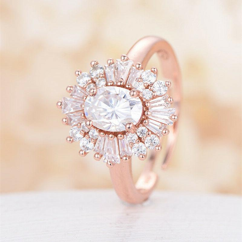 Gorgeous Rose Gold Filled Women's Wedding Rings Oval Cut Whi