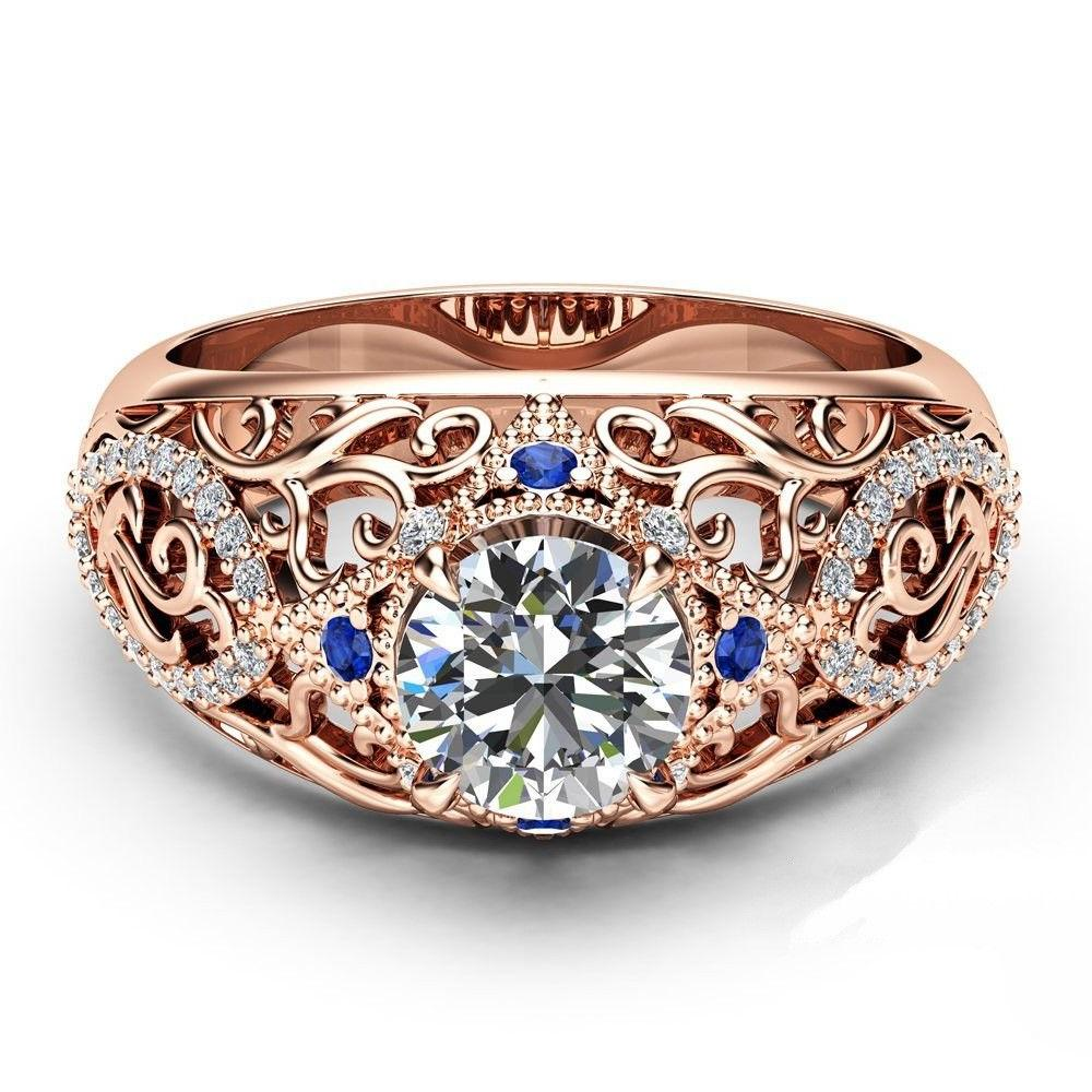 Gorgeous Women's Rings Rose Gold Filled Round Cut White Sapp
