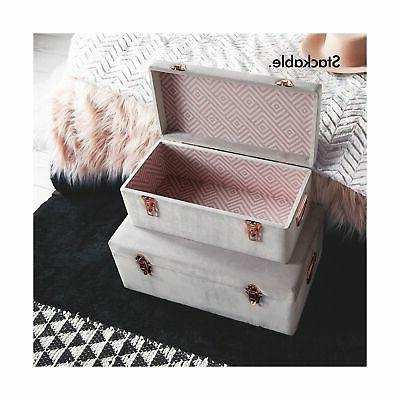 Beautify Velvet Decorative Storage Trunk Set Rose Gold Clasps Col...