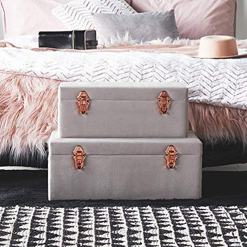 Beautify Gray Velvet Decorative Storage Trunk Set Rose Gold College Dorm and Footlocker Trunks
